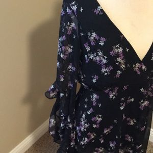 Express Dresses - Express Black Dress with purple flowers